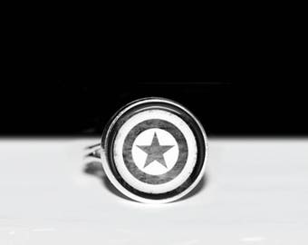 "Captain America Ring - Avengers Jewelry - Superhero Ring - Marvel Jewelry - Captain America Shield - 16mm or 5/8"" Glass on Adjustable Ring"