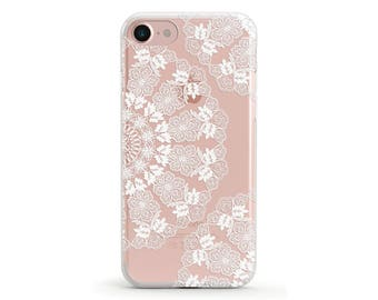 Sale 50% OFF, Lace Doily, White, Clear Soft Phone Case, iPhone 7, iPhone 7 plus, iPhone 6, iPhone SE, Samsung