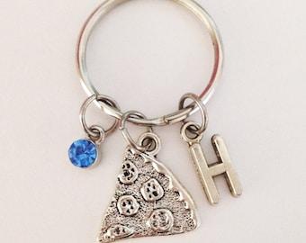 Pizza keychain - personalized keychain - initial keychain - friendship keychain - best friend gift - Christmas gift