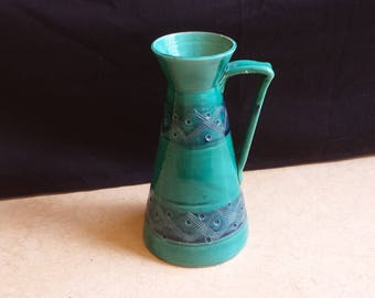 Aldo Londi for Bitossi, E/371, Italy mid-century abstract handled vase in turquoise and marine blue