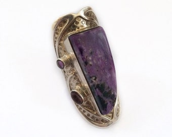 Sterling Silver Amethyst Ring - Handmade - Oversized, Covers Knuckle - Statement Ring - US Size 8 - Adjustable