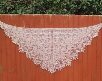 Handmade knitted lace light milk chocolate color wool yarn shawl with beads.