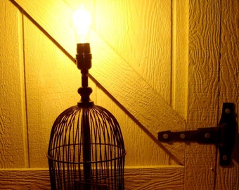 Unique Vintage Birdcage Lamp, Re-Purposed Lamp