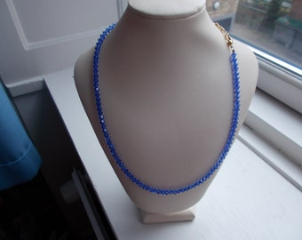 necklaces ca 48 cm long swarowski crystals blue bicones 4mm with filled gold chain and carabin lock