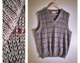 70s wool Fox Collection gray sweater vest