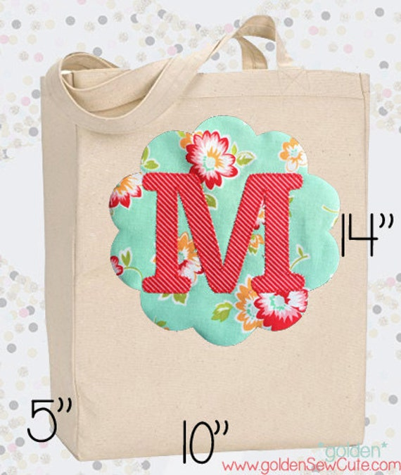 CYBER MONDAY SALE!  Applique Initial Canvas Tote Bag, Custom, Personalized, Initial