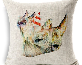 Rhino Pillow, Animal Pillow, Pillow Case, Rhino