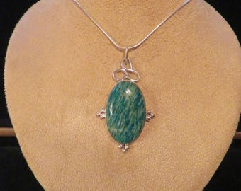 AMAZONITE PENDANT- Sylver 925 with or without silver chain 925