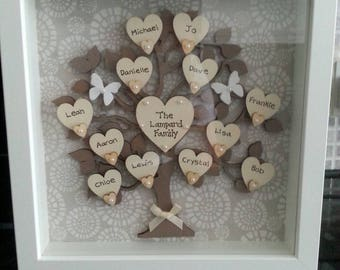 "Personalised Family Tree Frame 9"" x 9"" - Brown/Cream"