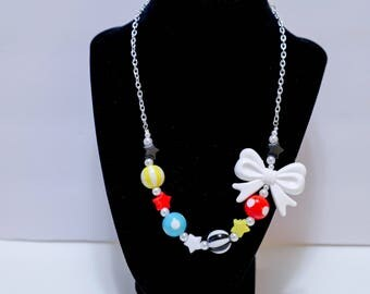 Circus Inspired Necklace with primary colors, bows, stars, stripes, oh my! - So Kawaii !! J-fashion Decora Lolita Fairy Kei