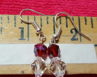 Valentine's Day Clear & Red Glass Earrings