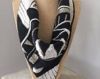 Back in stock! Beaded Scarf in Black and White