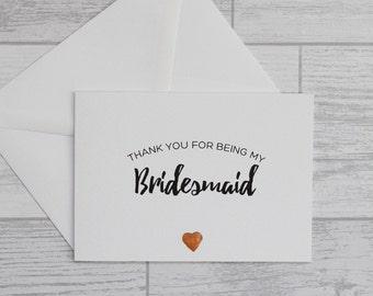 Bridesmaid Thank You Card - Bridesmaid Foiled Heart Card