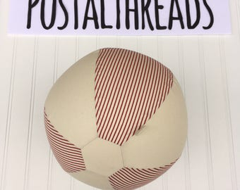 Fabric Balloon Ball by PostalThreads: creme & red pinstripes, vintage hot air balloon inspired .Perfect gift, easy to mail, bouncy, round