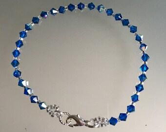 Swarovski Crystal Bracelet. Capri Blue Crystals. Handmade Swarovski Bracelet