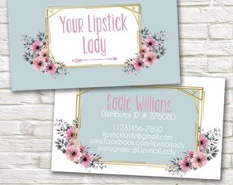 LipSense Business Cards- Blue and Blush Floral -SeneGence - Independent Distributor - Custom Personalized Digital MakeUp Lipstick Card