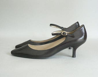 Brown Mary Jane Pumps 7.5 Low Heel