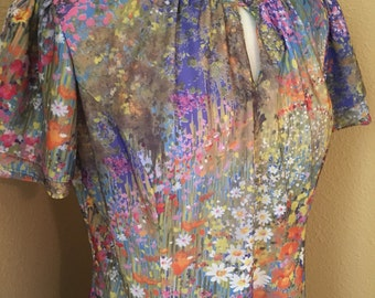 70s Union-Made Floral Damon Dress with Tiered Sleeves