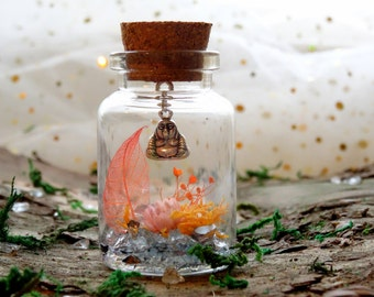 Fairy garden in a jar with Buddha charm, nature gift, real flower garden, cute gift, real dried flower arrangement