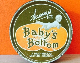 Baby's Bottom Tobacco Tin from c1950's.Good Vintage Collectable Condition. Everyone loves a bottom.