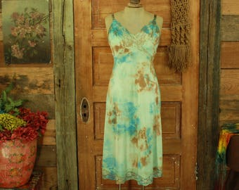SALE vintage 1960s hand tie dyed sea green blue olive hand dyed slip dress gown lace details S 34
