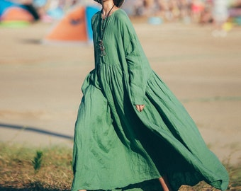 Green linen dress long sleeve tunic dress long winter autumn dress pleated dress linen maxi dress loose cotton blouse plus size clothing