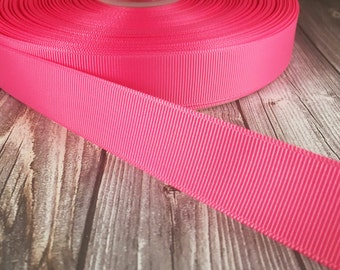"Solid hot pink Grosgrain - 7/8"" Grosgrain ribbon - 5 yards - craft ribbon - DIY hair bow - DIY headband - Wedding ribbon - Hot pink wedding"