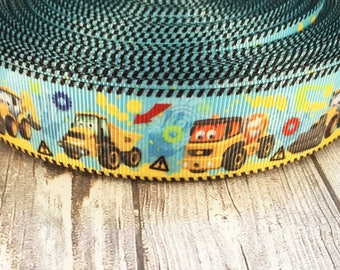 "Tractor ribbon - Boy baby shower - Baby shower ribbon - Tractor theme party - Tractor birthday - It's a boy - 1"" grosgrain ribbon - Crafting"