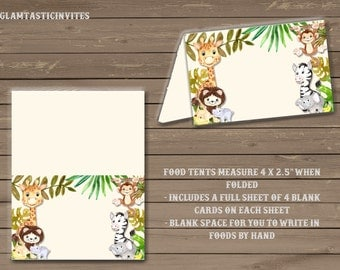 Safari Food Tents, Jungle Food Tents, Baby Shower Food Tents, Gender Neutral, Baby Girl Shower, Baby Boy Shower, Safari Name Cards,NameCards