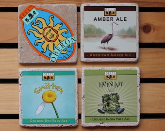 Bell's Brewery Set of 4 Tumbled Stone Beer Coaster from Upcycled Beer Stickers. Hopslam-Smitten-Amber Ale-Oberon-Beer Gifts-Craft Beer