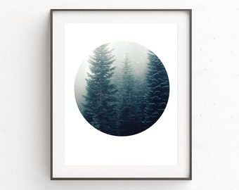 Forest Print, Fog Art, Instant Download Printable Art, Forest Photograph, Digital Download, Oju Design