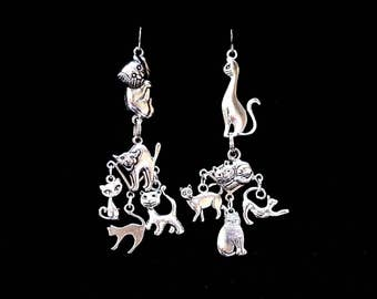 CAT LOVER, crazy cat lady, black cat, witchcraft, esoteric, mismatched earrings, gothic jewellery, egyptian, witchy, best friend, cat, kitty