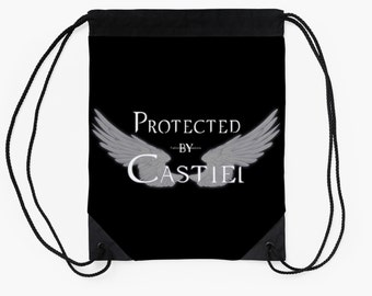 Supernatural Protected by Castiel Drawstring Backpack, White or Black Text Available!