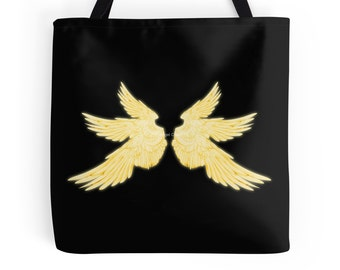 Golden White Archangel Wings Tote Bag, 3 Sizes Available! - Supernatural, Gabriel, Lucifer