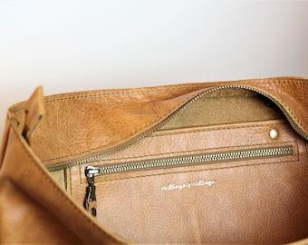 Εxtra zippered interior pocket for tote bags, tote with pockets,leather tote bag with pockets, extra interior large leather pocket