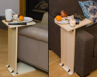 Table to the couch, table to the chair, armrest table, tall small table, stand table, individual table, side table, sofa side tray table
