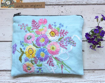 Beautiful Floral Embroidery Zip Pouch