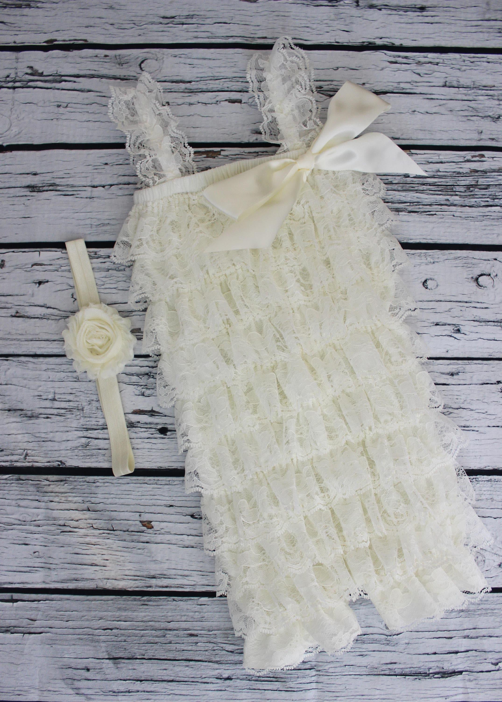 944214b18083b FREE SHIPPING Cake Smash Outfit 1st Birthday Lace Romper Ivory Cream  Matching Shabby Chic Headband Baby