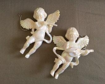 Vintage Pair Lucite Angel Ornaments