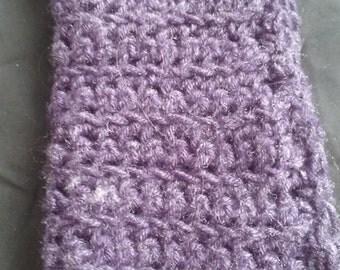 Wool Blend Washcloth, 10x14, Fuzzy Purple Wash Cloth, Purple Face Flannel, Crochet Wash Cloth, Face Cloths, Washcloth