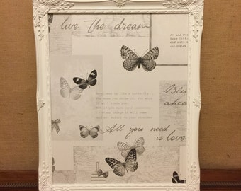 Ornate Butterfly Magnet Board - WHITE Framed Message Board / Kitchen Memo Board / Decorative Vintage Style Magnet Board - FREE GEM Magnet