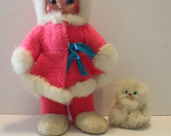 Very Rare Vintage 1940/50 Large Standing 15 inches Tall Hot Pink Plush Doll With Rabbit Fur and Rabbit fur Cat-Eskimo-Snow Girl-Polish Face-