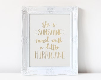 Sunshine Mixed With Hurricane - Real Foil - Gold Foil - Foil Art - Handmade Print - Home Decor - Kids Room Decor - Girl - Little Girl