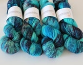 Siren Version 2 - Glitter Gel Pen fingering weight sock yarn