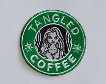 Rapunzel Starbucks Coffee inspired patch, Disney patch, princess patch, Tangled patch, Disney Starbucks, Cartoon patch, Sew on, Iron On
