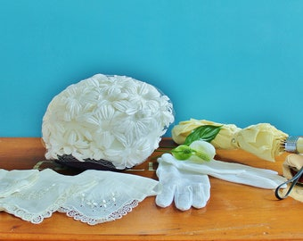 Vintage 1950s Women's White Summer Bridal Accesoires Flower Hat with Netting, Umbrella, Hankerchieves, Gloves, Coin Purse
