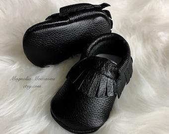 Genuine Leather Fringed Moccasins -  Baby Moccasins - Baby Moccasins - Moccasins - Black Moccasins