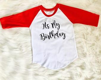 "Personalized "" Its my Brithday "" baseball shirt - Raglan Tshirt - custom made Shirts - Boys and Girls Matching Shirts - birthday outfits -"