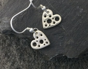 Holey Heart Drop Earrings in Fine Silver | Handmade Solid Silver Dangly Earrings | Heart Shaped Silver Earrings | Heart Earrings