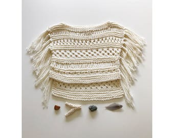 Hand knit cotton baby boho fringe cotton top 3/6 month